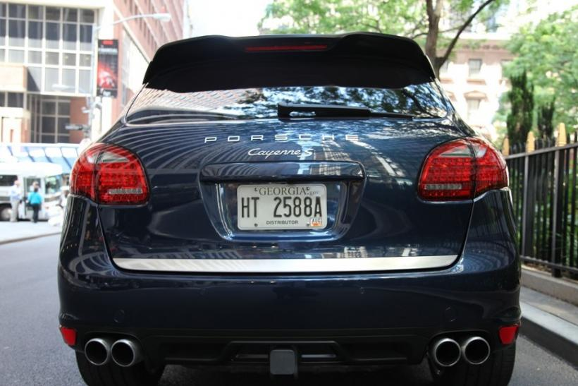 The 2012 Porsche Cayenne S seen from the rear.