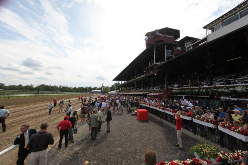 A view of the winners circle at the Saratoga Race Course on opening weekend.