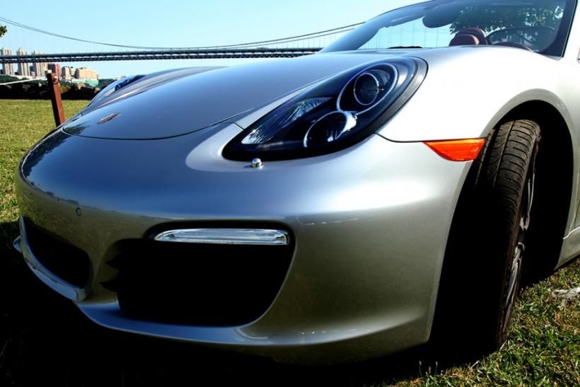 Close up of the 2013 Porsche Boxster S parked at Palisades Insterate Park.
