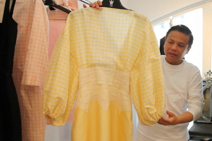 Zang Toi shows off his spring 2013 collection in his studio ahead of Mercedes-Benz Fashion Week in New York.