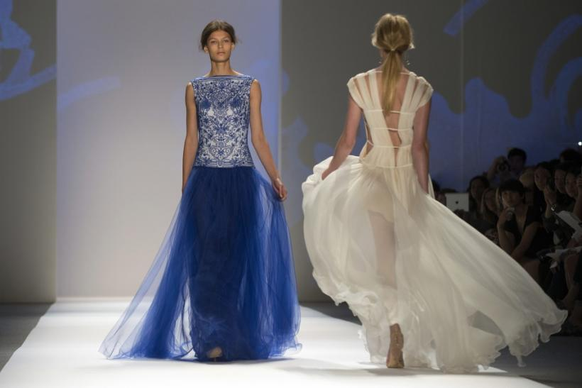 A model presents a creation from the Tadashi Shoji Spring 2013 collection during New York Fashion Week on September 6, 2012.