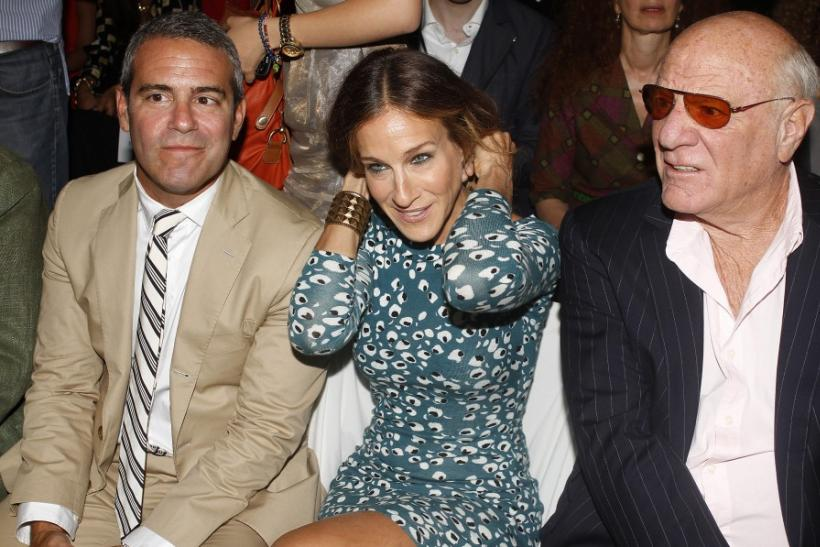 Producer Andy Cohen (L), actress Sarah Jessica Parker (C) and media mogul Barry Diller arrive for the Diane von Furstenberg Spring/Summer 2013 collection show at New York Fashion Week September 9, 2012.