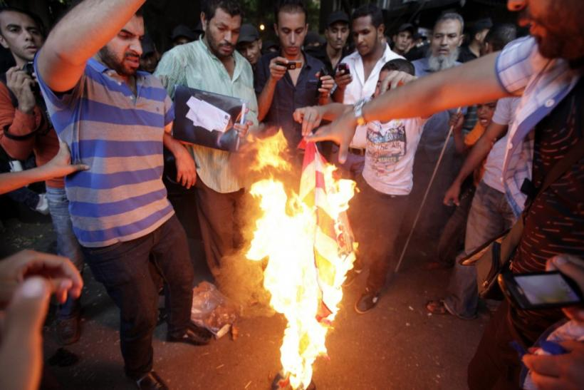 Flag burning outside U.S. Consulate in Libya