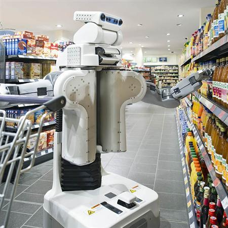 A robot shops for groceries in an undated image courtesy of the Technical University in Munich
