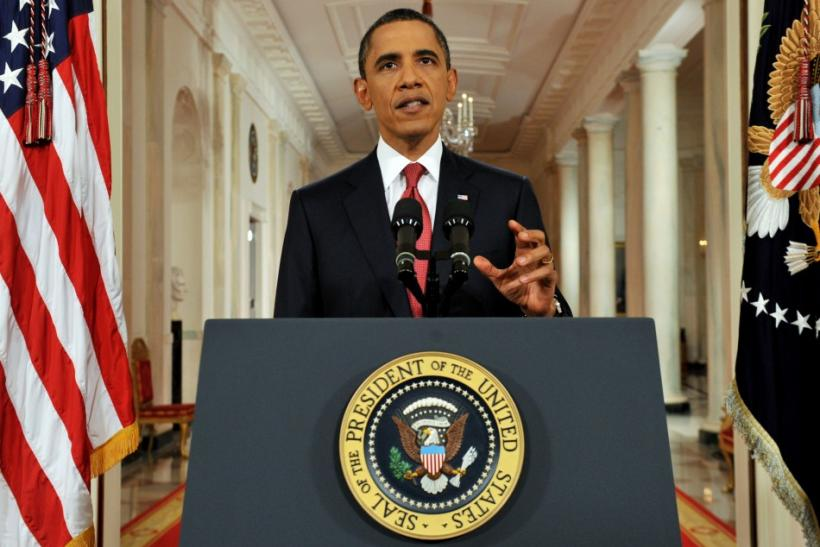 President Barack Obama speaks in a prime-time address to the nation from the East Room of the White House in Washington