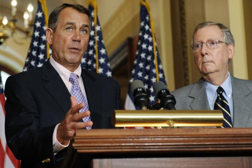 Boehner and McConnell speak at a news conference about the U.S. debt ceiling crisis, at the U.S. Capitol in Washington