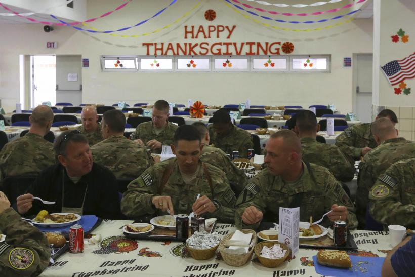 US Troops Enjoy Thanksgiving Meal In Kabul