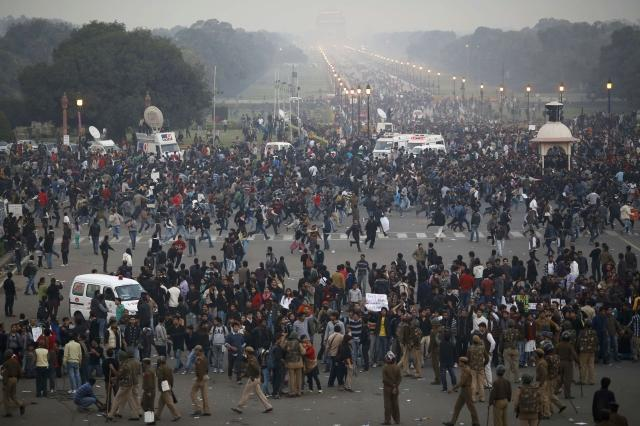 Police Chasing Protesters
