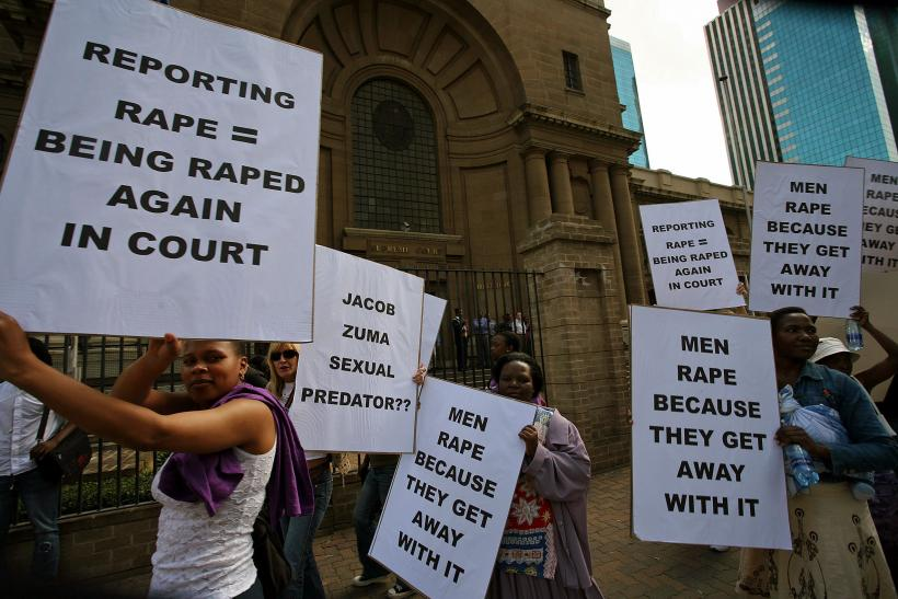 South African women protest against rape.