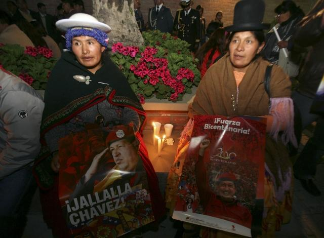 Bolivian supporters of Chavez
