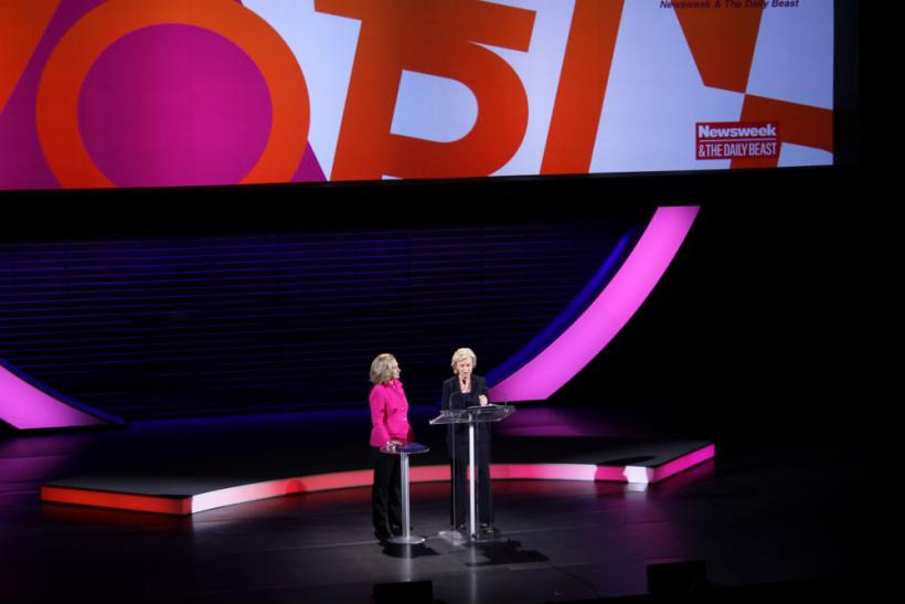 Tina Brown introducing Hillary Clinton at Women in the World Summit