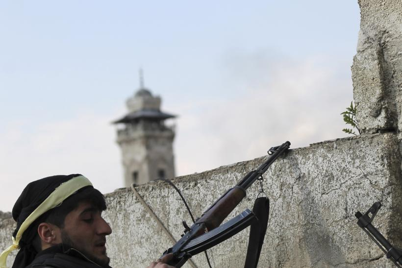 Syrian Fighter Near Umayyad Mosque Minaret