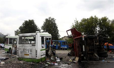 Bus, Truck Crash Outside Moscow-July 13, 2013