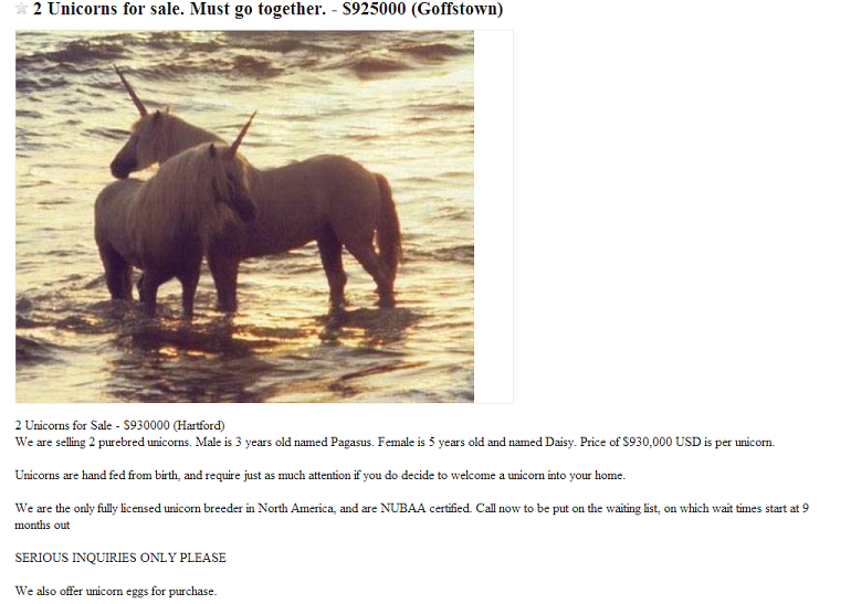 Are Unicorns Real Craigslist Ad For 2 Unicorns For Sale Wants Buyer To Pony Up Million