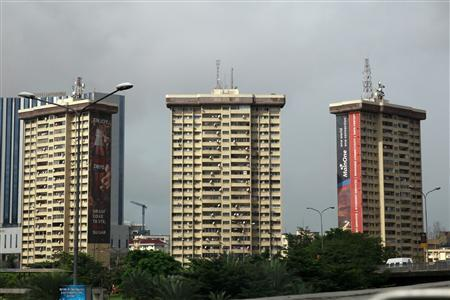 Property is seen along a road in the Ikoyi district in Nigeria's commercial capital Lagos