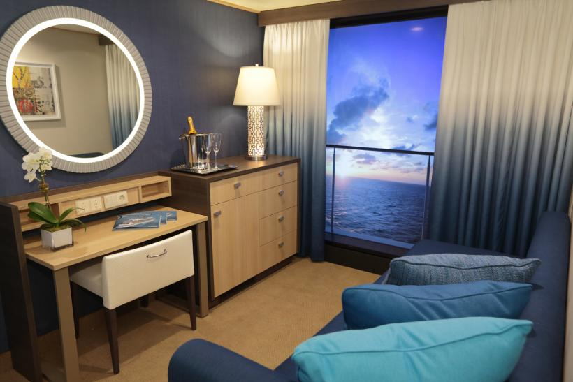 Cruise ship debuts virtual balconies for windowless for Balcony room cruise ship
