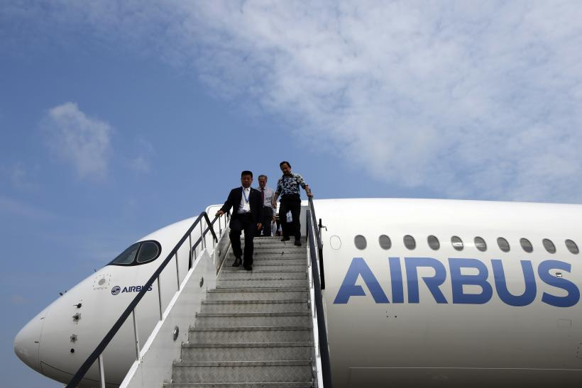 Sultan of Brunei departs a tour of the new Airbus A350