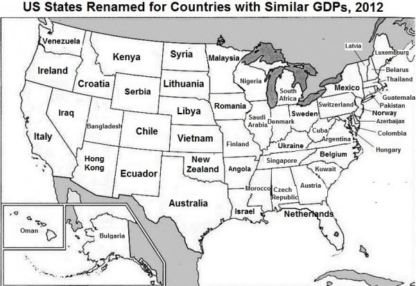 US States Renamed for Countries with Similar GDP