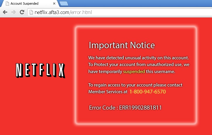 Netflix Tech Support Phishing Scam