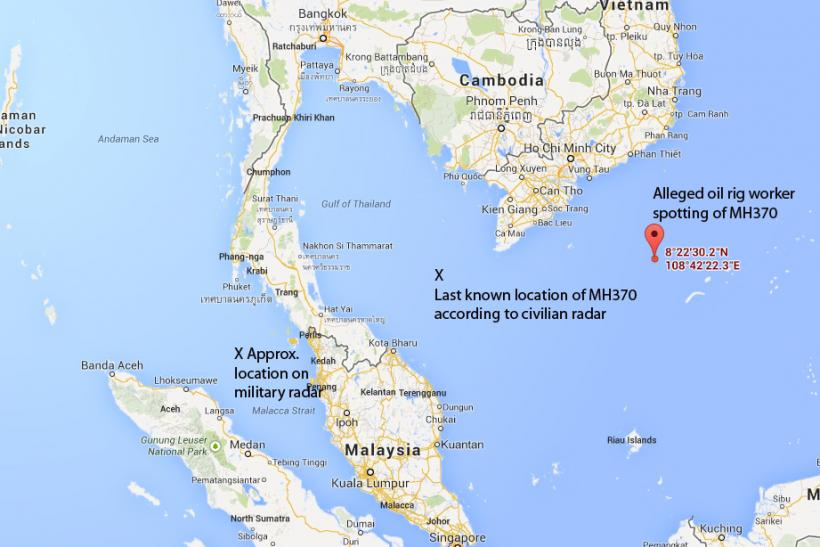 Map of MH370 possible disapperances