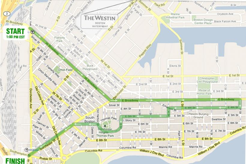 Boston St. Patrick's Day Parade 2014 Route Map
