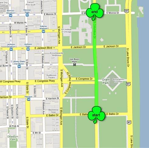 Chicago St. Patrick's Day Parade 2014 Route Map