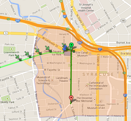 Syracuse St. Patrick's Day Parade 2014 Route Map