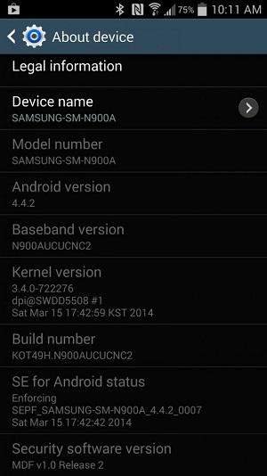 AT&T Galaxy Note 3 settings after Android 4.4 update
