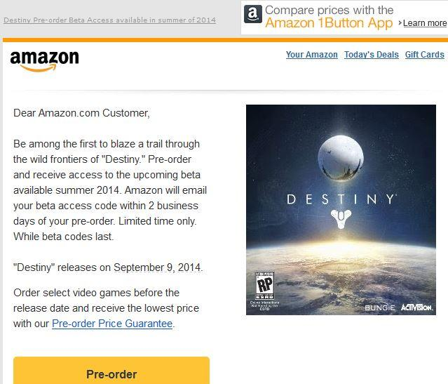 how to get destiny 2 beta from amazon