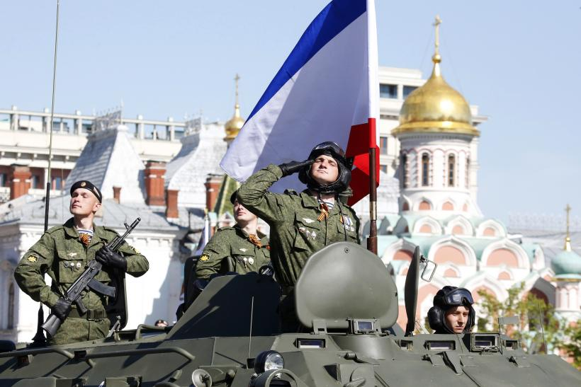 Russian troops Crimean flag