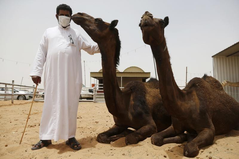 A man wearing a mask poses with camels at a camel market in the village of al-Thamama near Riyadh May 11, 2014