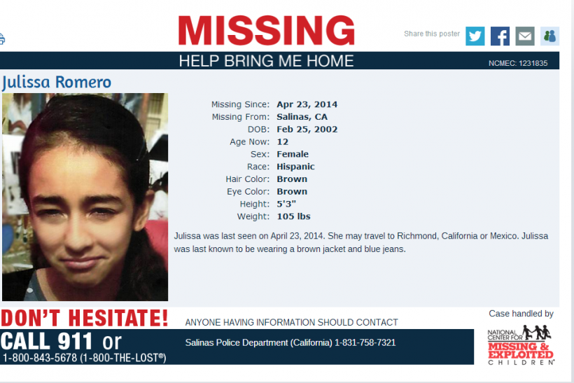 Julissa Romero Missing Sign