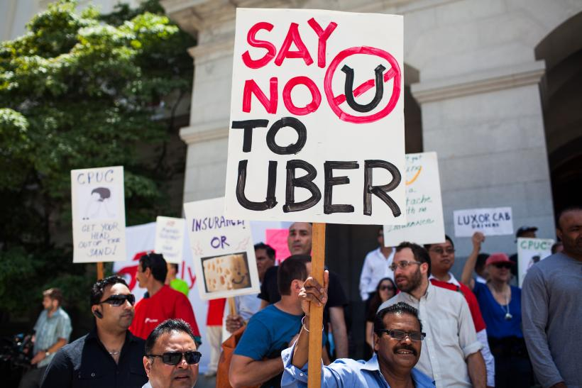 Taxi drivers protest Uber, Lyft