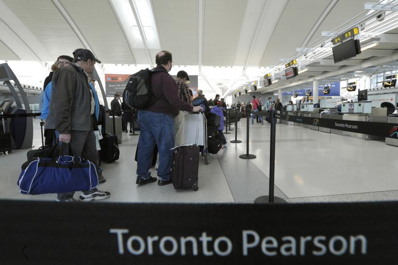 passengers at Toronto's Pearson Airport