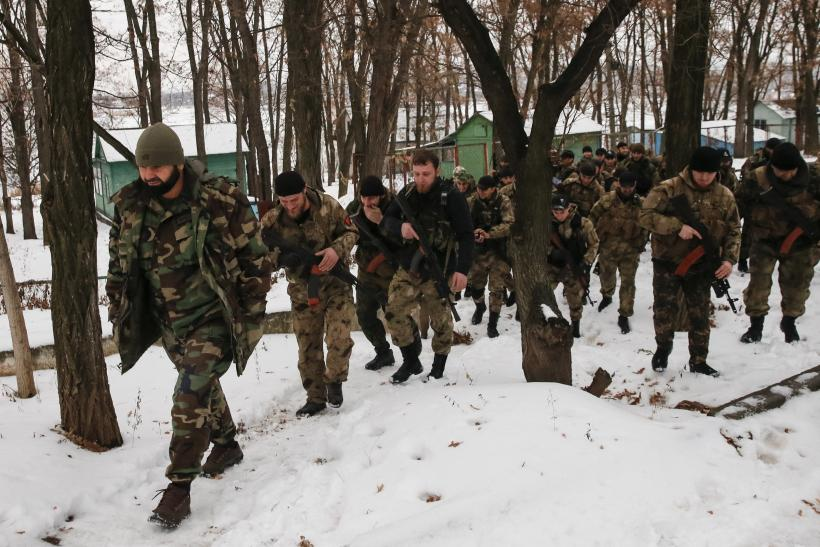 Pro-Russian soldiers from Chechnya during exercises