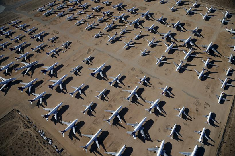 Old Boeing Planes lined in in the Californian desert.